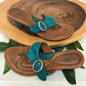 Born Teal Thong Sandals Leather Thong Sandals